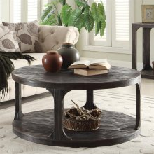 Bellagio - Round Coffee Table - Weathered Worn Black Finish