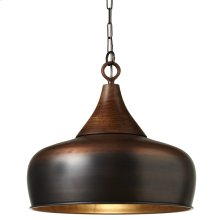 Antique Copper Pendant with Wood Top. 100W Max. Plug-in with Hard Wire Kit Included.