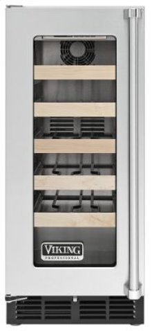 """15"""" Undercounter Wine Cellar VWCI, Clear Glass, Left Hinge/Right Handle"""