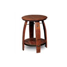 BARREL SIDE TABLE W/ SHELF