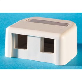 Surface mount box, with label field, Fog White holds two Keystone jacks or modules