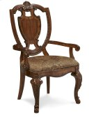 Old World Shield Back Arm Chair Fabric Seat Product Image
