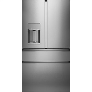 GEENERGY STAR ® 27.8 Cu. Ft. Smart 4-Door French-Door Refrigerator in Platinum Glass