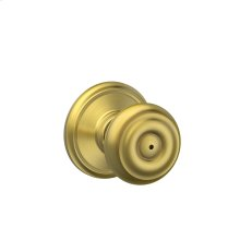 Georgian Knob Bed & Bath Lock - Satin Brass