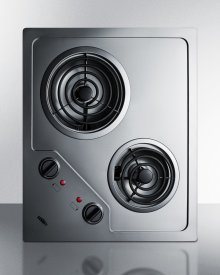 2-burner 120v Electric Cooktop Designed for Portrait or Landscape Installation, With Coil Elements and Stainless Steel Finish