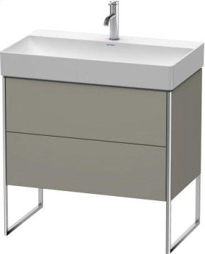 Vanity Unit Floorstanding, Stone Gray Satin Matt Lacquer