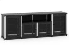 Synergy Solution 345, Quad-Width AV Cabinet, Black with Aluminum Posts