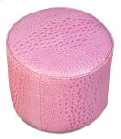 Pink Leather Croc Pouf Product Image