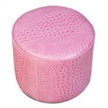 Pink Leather Croc Pouf