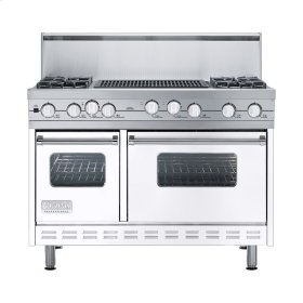 """White 48"""" Sealed Burner Self-Cleaning Range - VGSC (48"""" wide, four burners & 24"""" wide char-grill)"""