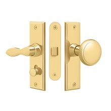 Storm Door Latch, Square, Mortise Lock - PVD Polished Brass