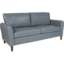 Milton Park Upholstered Plush Pillow Back Sofa in Gray Leather