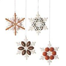 Sport Equipment Snowflake Ornament (4 asstd).