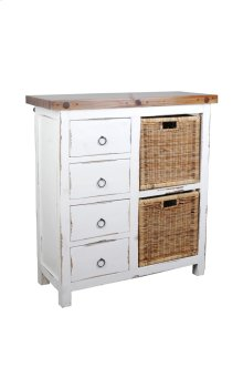 Sunset Trading Cottage Whitewashed Basket Cabinet - Sunset Trading