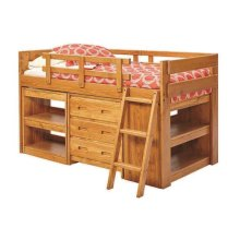 Heartland Ladder Low Loft Bed with options: Honey Pine, Twin, Dresser and 2 Bookshelves