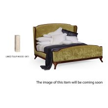 Cali King Louis XV Limed Tulip Bed, Upholstered in Lime Velvet