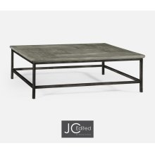 Antique Dark Grey Square Coffee Table with Iron Base
