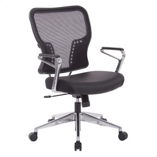 Air Grid® Back and Padded Bonded Leather Seat Chair