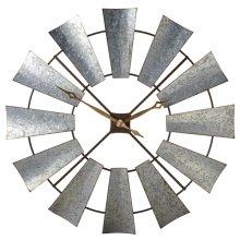 Galvanized Windmill Wall Clock