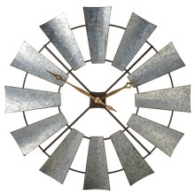 Galvanized Windmill Wall Clock