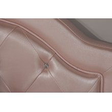 Karley Headboard - Full - Embossed Pink With Glass Button