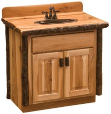 Vanity with Top - 36-inch - Natural Hickory - Sink Right - Liquid Glass