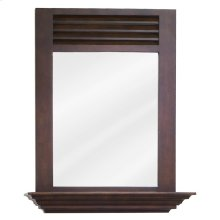 "25-1/2"" x 30"" nutmeg mirror with 4"" shelf and beveled glass"