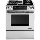 "Slide-In Modular Dual-Fuel Downdraft Range with Convection, 30"", Pro-Style® Stainless Handle Product Image"