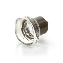 "City Lights, Soft Square Glass knob, Oil Rubbed Bronze, 1-1/4"" dia"