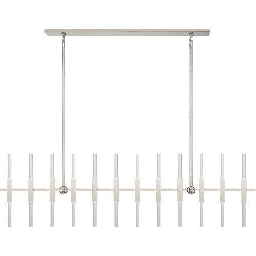 Visual Comfort S5140PN-CA Ian K. Fowler Palomar 24 Light 60 inch Polished Nickel Transforming Linear Chandelier Ceiling Light, Large