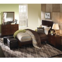 New Albany 4-Pc. Full Bedroom Set - Full Faux Leather Bed, 6-Drawer Dresser, Mirror, Nightstand