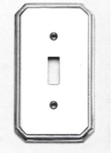 Single Traditional Switchplate - Solid Brass in SB (Shaded Bronze, Lacquered)