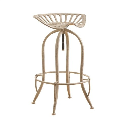 Traditional Antique White Adjustable Bar Stool
