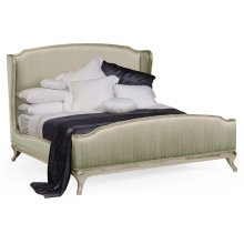 Cali King Louis XV Country Sage Bed, Upholstered in Duck Egg Silk