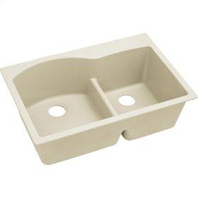 """Elkay Quartz Luxe 33"""" x 22"""" x 10"""", Offset 60/40 Double Bowl Drop-in Sink with Aqua Divide, Parchment"""