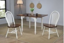 Sunset Trading 3 Piece Drop Leaf Dining Set in Antique White with Chestnut Top, Arrowback Chairs