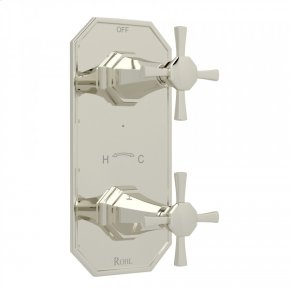"""Polished Nickel Perrin & Rowe Deco 1/2"""" Thermostatic/Diverter Control Trim with Deco Cross Handle"""