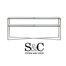 Cross Over Glass Top Console Table