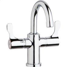"""Elkay Single Hole 8-5/8"""" Deck Mount Faucet with Gooseneck Spout Twin Lever Handles Chrome"""