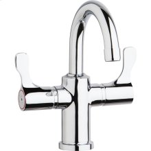 "Elkay Single Hole 8-5/8"" Deck Mount Faucet with Gooseneck Spout Twin Lever Handles Chrome"