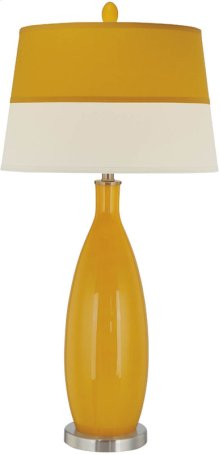 Table Lamp, Ps/orange Glass Body/fabric Shade, E27 Cfl 23w