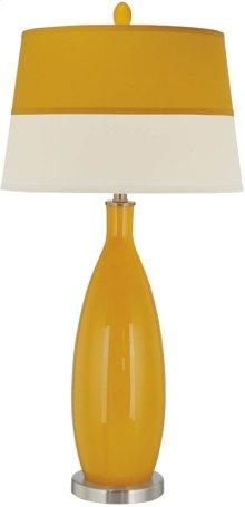 Table Lamp, Ps/orange Glass Body/fabric Shade, E27 Cfl 23w