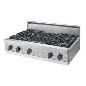 "Metallic Silver 36"" Open Burner Rangetop - VGRT (36"" wide, four burners 12"" wide char-grill)"