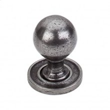 Paris Knob Smooth 1 1/4 Inch w/Backplate - Cast Iron