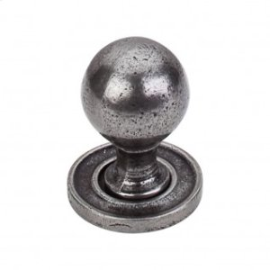 Paris Knob Smooth 1 1/4 Inch w/Backplate - Cast Iron