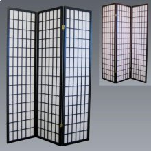 3 Panel Wood Room Divider - Black