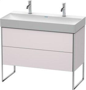 Vanity Unit Floorstanding, White Lilac Satin Matt Lacquer