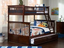 Columbia Bunk Bed Twin over Full with Raised Panel Trundle Bed in Walnut