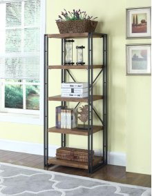 """- Four tier double bookcase finished in dark brown with metal frame finished in black- Constructed with steel, MDF, and engineered veneer- Also available as 19.75""""W bookcase (#801473)"""
