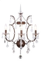 1138 Elena Collection Wall Sconce D:17in H:22in Lt:3 Rustic Intent Finish Royal Cut Crystal (Clear) Product Image